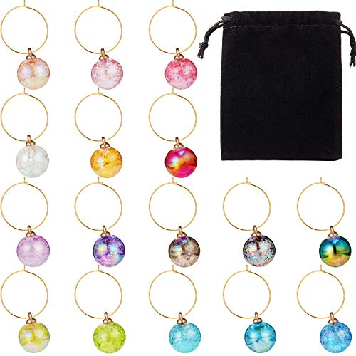 Beaded Wine Charms Set Swirl Glass Markers Tags, Includes 16 Pieces Beads, 32 Pieces Rings and 2 Pieces Velvet Bags for Party Favors Family Gathering