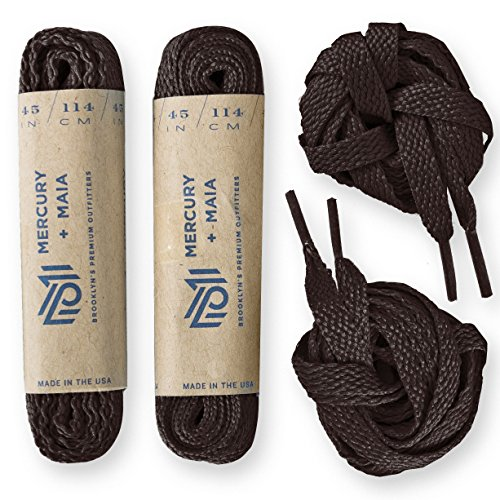 Brown Shoe Sport Flat (Mercury + Maia Flat Athletic Shoelaces 2 Pair Pack- Flat Casual Sport Shoe Laces for Sneakers & Tennis Shoes - Shoe Strings - 2 Pair Pack (30 inches, Brown))
