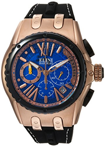 Elini Barokas Men's 'Genesis Vision' Swiss Quartz Stainless Steel and Silicone Casual Watch, Color:Black (Model: ELINI-20008-RG-03-BB) - Elini Black Chronograph