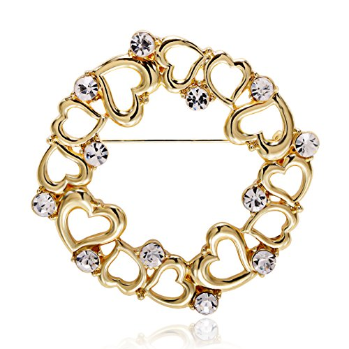 MANZHEN Jewelry Rhinestone Heart Brooch Fashion Circle Brooch Pin for Women (Gold)