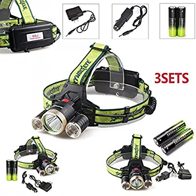 80000LM Headlamp Head Light 5X Zoom LED Rechargeable 18650 Torch Charger US