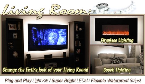 Biltek 6 Ft Warm White Family Room Shelf Table LED Strip Lighting Complete Package Kit Lamp Light DIY