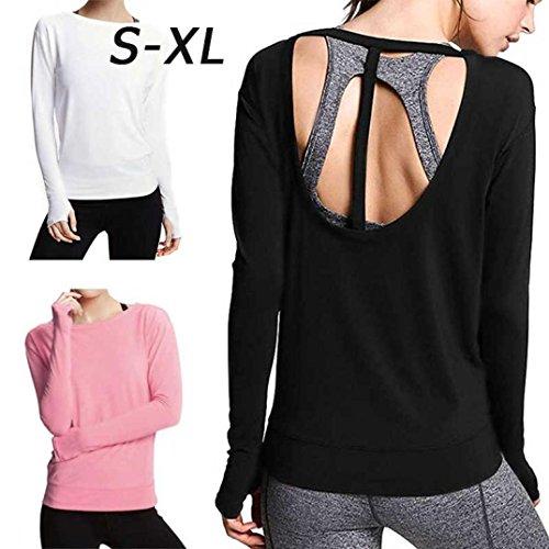 Scollo Lunga Shirt Halter Top Top Allentato Donna VICGREY Lunga Camicia Camicia Shirt Manica Manica Casual Tondo Nero T 1qPw8tB