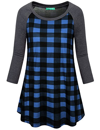 Quarter Sleeve Crewneck Three (Flannel Shirts for Women,Kimmery Juniors Loose fit Tops Crew Neck Three Quarter Sleeve Curvy Knit Plaid Tunic Aesthetic Beautiful Morden Vibrant Stylish Design Work Wear Zulily Spring Blouse XX Large)