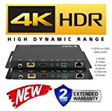 HDbaseT HDR Extender Kit HDMI 2.0B 18GBPS 4K @ 60hz Ethernet UltraHD YUV 4:4:4 Uncompressed 330FT 100M Transmitter Receiver IR RS232 CAT5e CAT6 HDCP2.2 CRESTRON CONTROL4 SAVANT HOME AUTOMATION 4K2K