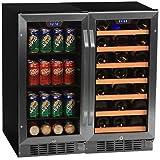 """Edgestar CWBV8030 30 Bottle + 80 Can Side-by-Side 30"""" Wide Wine & Beverage Center"""