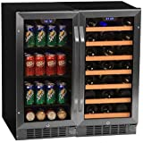 Edgestar CWBV8030 30 Bottle + 80 Can Side-by-Side 30' Wide Wine & Beverage Center