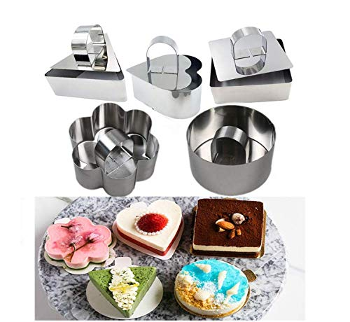 (Astra Gourmet Stainless Steel Cake Ring - Dessert Mousse Mold with Pusher & Lifter Cooking Rings for Mousse Japanese Fluffy Pancakes Rice Salads Fancy Dessert(Set of 5))