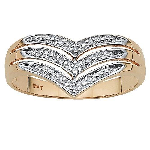 White Diamond Accent 10k Yellow Gold Triple-Row Chevron - Diamond Ring Chevron Accent