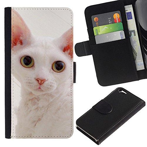 LASTONE PHONE CASE / Luxe Cuir Portefeuille Housse Fente pour Carte Coque Flip Étui de Protection pour Apple Iphone 6 4.7 / White Devon Rex Big Ears Cat Pink Nose