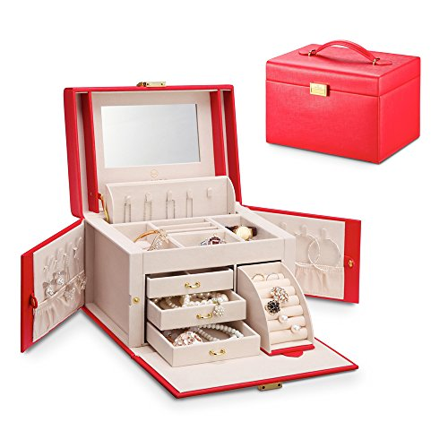 Vlando Mirrored Jewelry Box Organizers for Girls Women Vi...
