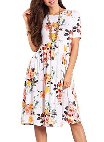 ZESICA Women's Summer Short Sleeve Floral Print Pockets Casual Swing Tunic Dress - Floral Empire Dress