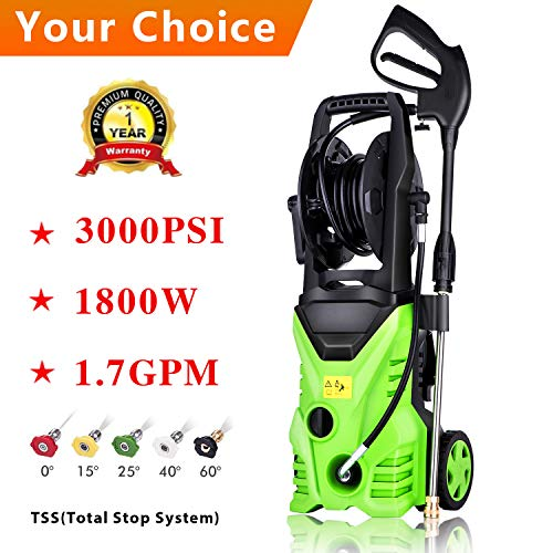 Rendio 3000 PSI Electric Pressure Washer, 1800W Rolling Wheels High Pressure Professional Washer Cleaner Machine with Power Hose Nozzle Gun and 5 Quick-Connect Spray Tips (3000PSI - G)