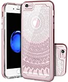 SKYLMW iPhone 6 Plus Case,iPhone 6s plus case, [Shock Absorption] Dual Layer Hybrid Clear Art Painting Patterns High Impact Resistant Protective Case Cover for iPhone 6 Plus/6s Plus,Rose Gold Mandala