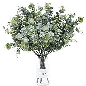 TEMCHY Artificial Eucalyptus Leaves Spray Lifelike Faux Greenery Stems Fake Branches Shrubs Plants, 14.6″ x 10″ Full Size for Wedding Bouquet Farmhouse Home Garden Decor(3 Pack)
