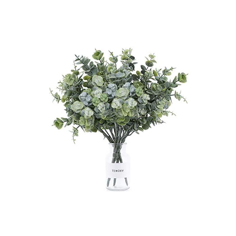 "silk flower arrangements temchy artificial eucalyptus leaves spray lifelike faux greenery stems fake branches shrubs plants, 14.6"" x 10"" full size for wedding bouquet farmhouse home garden decor(3 pack)"