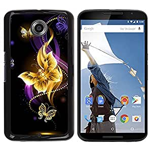 Design for Girls Plastic Cover Case FOR NEXUS 6 / X / Moto X Pro Butterfly Black Colorful Purple Fire OBBA