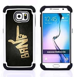 """Samsung Galaxy S6 / SM-G920 - 3 en 1 impreso colorido de Altas Prestaciones PC Funda chaqueta Negro cubierta gel silicona suave (Explosión muestra de la mano del arma"""")"""