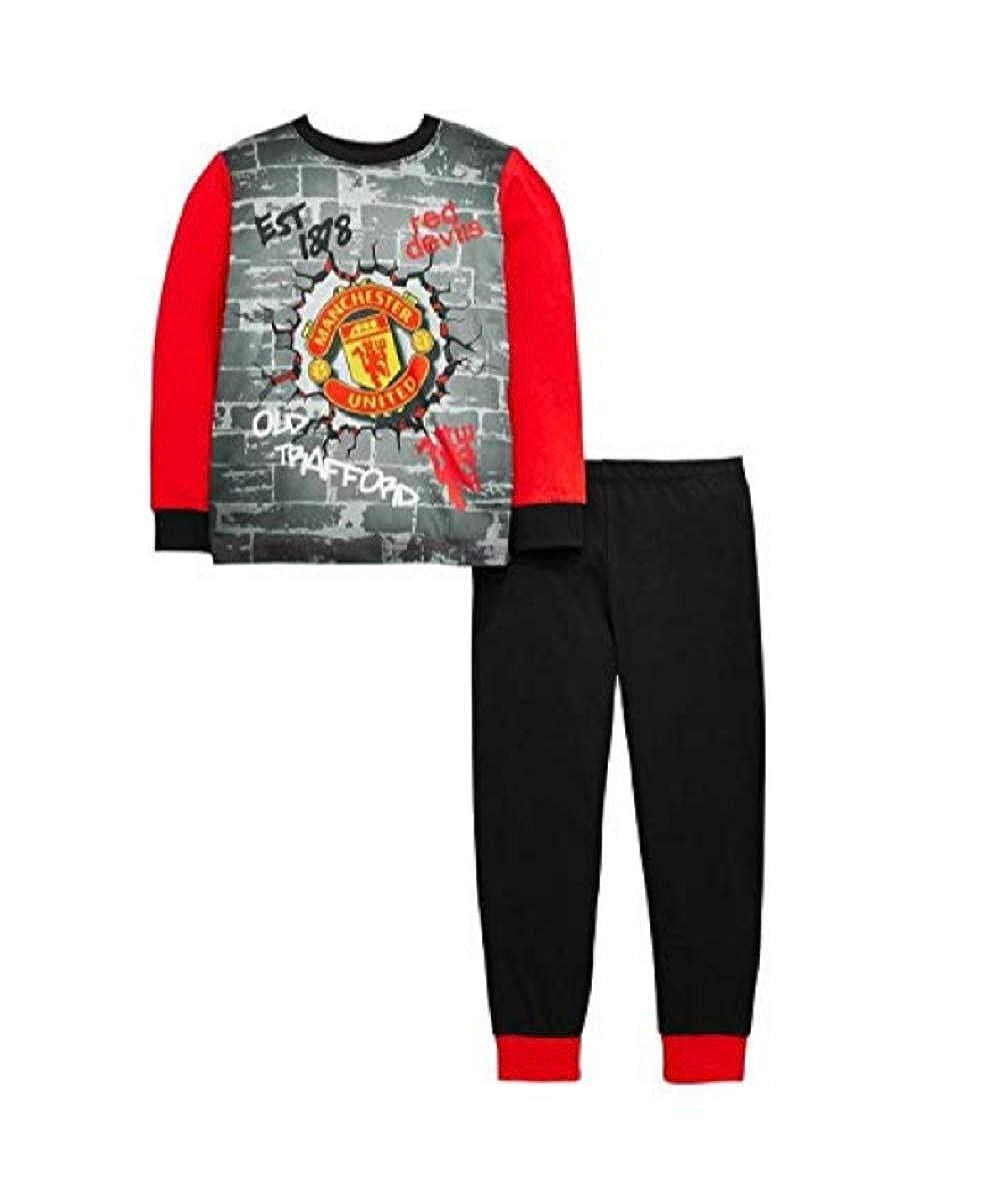 Boys Girls Unisex Kids Manchester United Long Pyjama Set Old Trafford - Sizes 3-12 Years WH31036