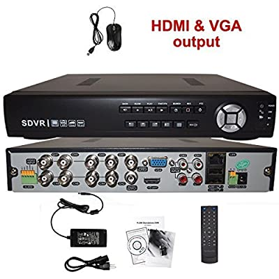Evertech 8 Channel Real-time, Cloud Option, Hdmi DVR H.264 Full D1 High-def DVR for your Security Surveillance System, 1 TB HDD Included, installed and Configured
