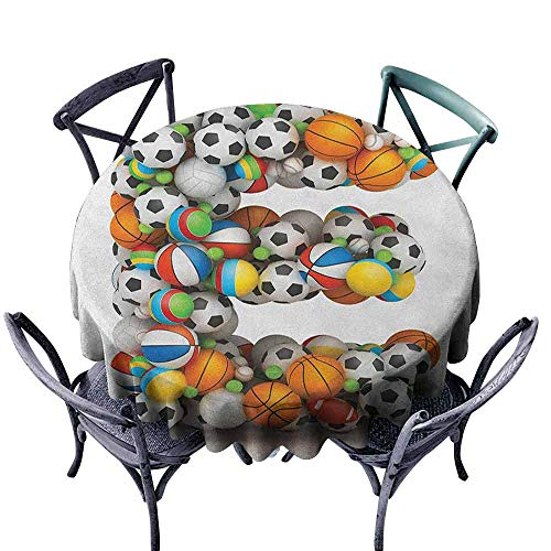 Overlay Round Tablecloth Dinning Tabletop Decoration Letter E,ABC of Sports Concept Different Gaming Balls First Name Initial Monogram Design, Multicolor Diameter 50