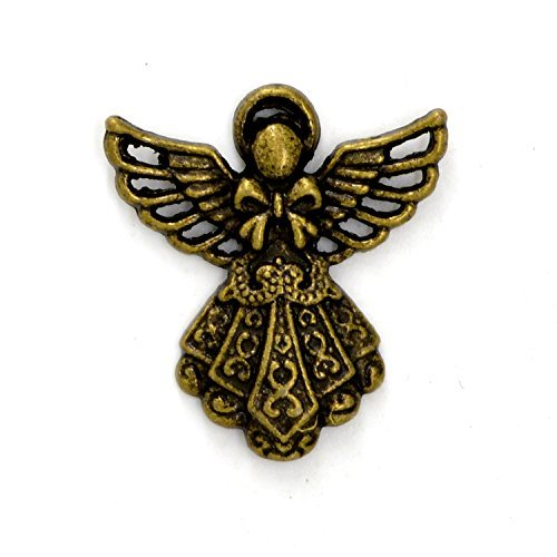 15pcs 23x26mm Antique Bronze Lovely Smaller Filigree Angel with Wings Charm P...