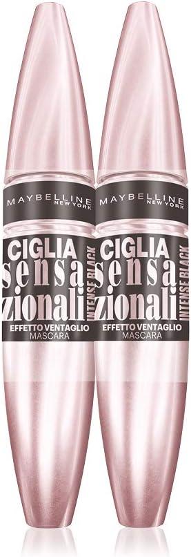 Maybelline New York Ciglia Sensazionali Intense Black Mascara, Volume Effetto Ventaglio, Confezione Doppia 2 Pezzi, Nero