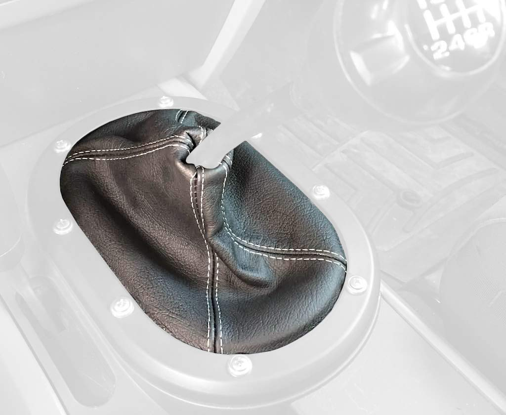 RedlineGoods shift boot tailor-made for Jeep Wrangler 2007-10 Black leather-Black thread Redline Automotive Accessories Corp
