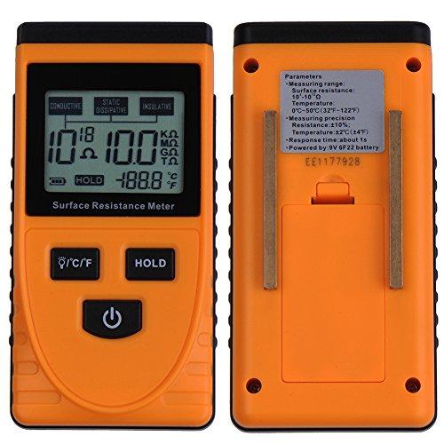 V-EWIGE GM3110 Handdigital-Oberflächenwiderstandsmessgerät Tester mit LCD-Anzeige Temperaturmessdaten Neu
