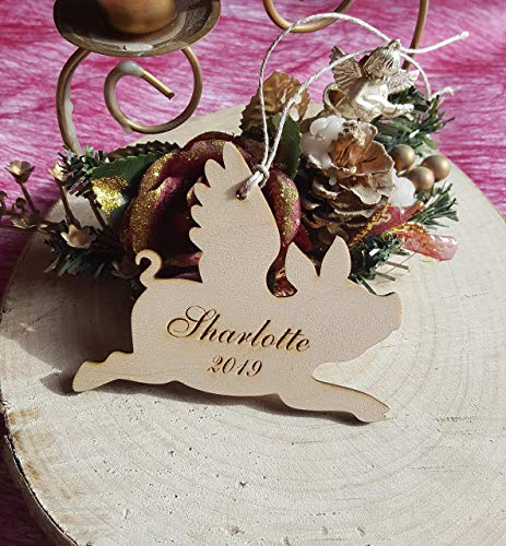 Pig Christmas tree ornament, wooden custom decorations gift, unfinished cutouts, laser cut personal tags, natural wood 2019 symbol
