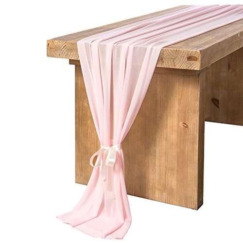 Ling's moment 27 x 120 Inches Pink Chiffon Table Runner/Overlay for Romantic Bohemian Rustic Wedding Reception Table Décor Bridal Shower Baby Shower Decorations for Girl ()