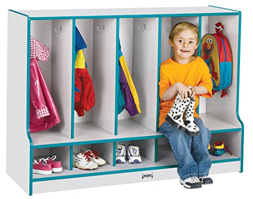 Rainbow Accents 6684JCWW005 Toddler 5 Section Coat Locker with Step and Without Trays, Teal