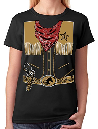 TeeStars - Cowboy Halloween Easy Costume Outfit Women T-Shirt Medium Black