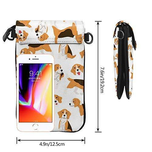 HYJUK Mobiltelefon crossbody väska beagle hund kvinnor PU-läder mode handväska med justerbar rem