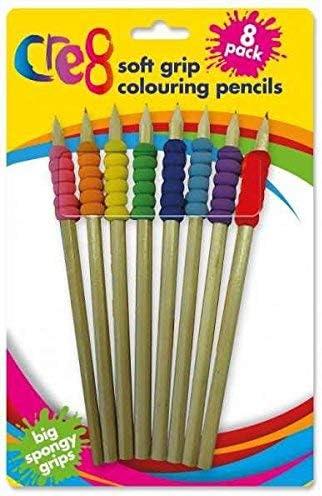 Cre8 - Lápices para colorear para niños con esponja suave, varios colores, pack de 8: Amazon.es: Oficina y papelería