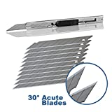 Ehdis Light Duty 9mm Snap Off 30 Degree Blades Slim Stainless Steel Sheath Lockable Box Cutters Graphic Knife with Blade Snapper Added 10 Blades, 1 Set