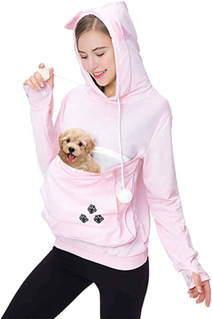 Amazon.com: Womens Pet Carrier Sweater Dog Cat Pouch Hoodies Plus Size Tops Pink XL: Clothing