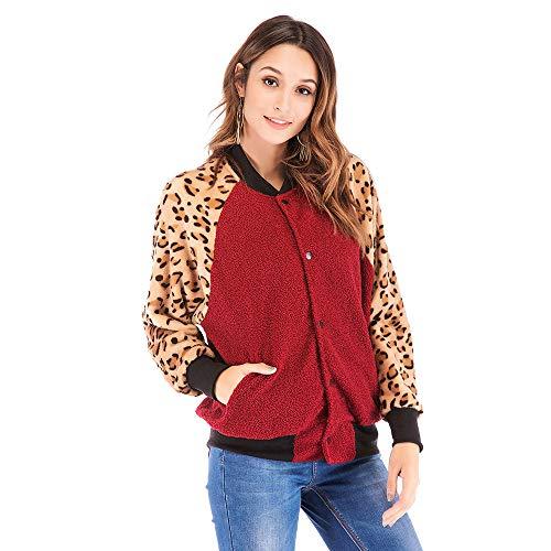 Letdown Women Winter Warm Casual Leopard Printed Patchwork Jacket Outwear Coat Overcoat -