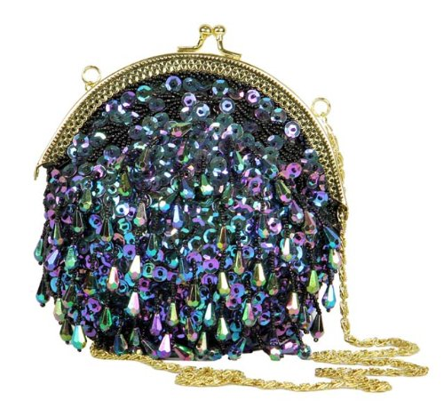 7.5″ Diva Fashion Purse Black Evening Bag with Iridescent Sequins and Beadwork, Bags Central