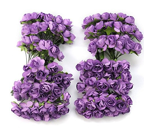 AllLife 144pc Chic Mini Artificial Paper Rose Flower Wedding Card Decor Craft DIY - Purple Discount Wedding Personalized Napkins