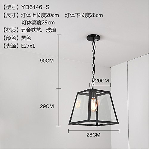 Modern Chandelier,Modern LED Pendant Light Chandelier LED Pendant Lighting Loft Retro Iron Art Glass Chandelier in The case of a Rectangular Glass Chandeliers in The Living Room is The Coffee Shop