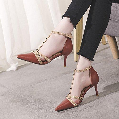Altos OrangeRed De Moda De Las De Remache Corte 35 Mujeres Transpirable Elegantes UK EU Tacones Zapatos Tacones De 7cm Boda 3 Aguja gOqawCfdf