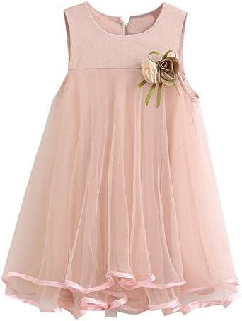 Imagen deK-youth Vestido de niña, Vestido de Princesa Vestido de Fiesta de cumpleaños de la Boda del Desfile de la Muchacha de la Manera o Vestido de Dama de Honor