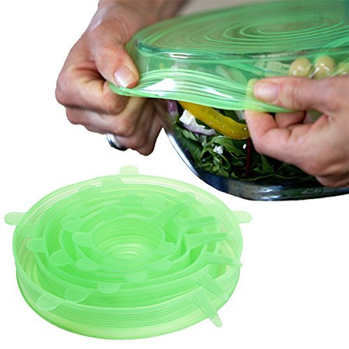 Green Round Platter (Wolecok Silicone Stretch Lids Cover (Multi Size 6 pack) - Reusable Food Seal Wrap For Various Sizes Shapes of Bowls (Green))