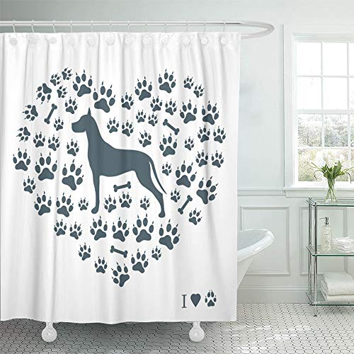 - Emvency Shower Curtain Set Waterproof Adjustable Polyester Fabric Nice of Great Dane Silhouette on Dog Tracks and Bones in The Form Heart White 72 x 72 Inches Set with Hooks for Bathroom