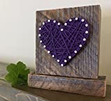 Sweet & small freestanding wooden purple string art heart sign. Perfect for Mother's Day gifts, home accents, Wedding favors, Anniversaries, nursery decoration and just because gifts by Nail it Art.