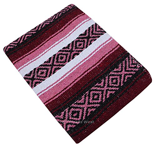 "Threads West Premium Large Heavyweight Mexican Falsa Blanket, Serape Stripe Yoga Blanket (72"" X 52"") (Large Heavy, Burgandy and Pink) For Sale"