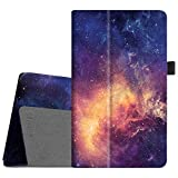 kindle fire hd standing case - Fintie Folio Case for All-New Amazon Fire HD 8 Tablet (7th Generation, 2017 Release) - Slim Fit Premium Vegan Leather Standing Protective Cover with Auto Wake/Sleep, Galaxy