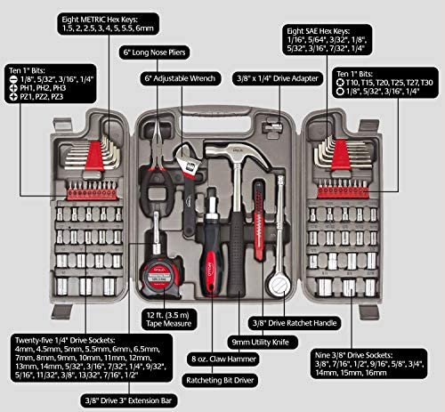 Apollo Tools 79 Piece Multi-Purpose Tool Set with Sockets, Basic Tool Kit for the Garage, Home or at the Road. Includes Essential Tools for Vehicle Maintenance and Repairs - DT9411, Gray