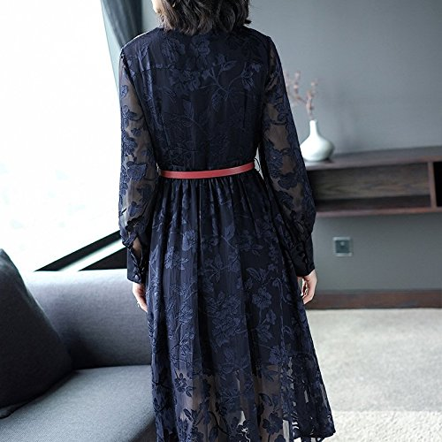 Section Nouvelle Marine Robe Mode Unique Longue Une fminine Taille Robe Fine S Robes Bleu Fleur MiGMV Jupe Poitrine 2018 Taille xqwY1O4XwH